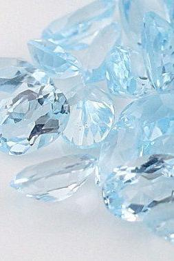 Natural Sky Blue Topaz 7x9mm 10 Pieces Lot Faceted Cut Oval Blue Color - Natural Loose Gemstone