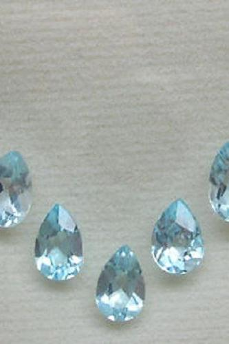 Natural Sky Blue Topaz 4x6mm 5 Pieces Lot Faceted Cut Pear Blue Color - Natural Loose Gemstone