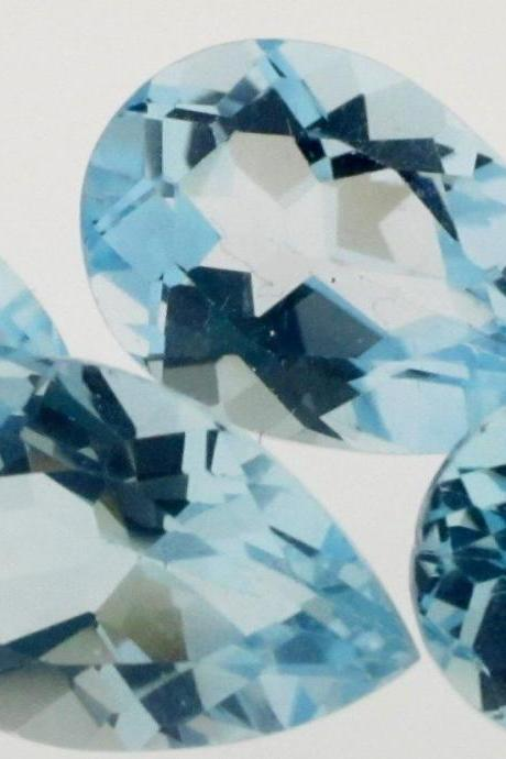 Natural Sky Blue Topaz 5x3mm 5 Pieces Lot Faceted Cut Pear Blue Color - Natural Loose Gemstone