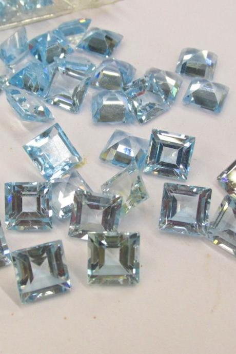 Natural Sky Blue Topaz 5mm 100 Pieces Lot Faceted Cut Square Blue Color - Natural Loose Gemstone