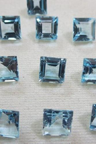 Natural Sky Blue Topaz 6mm 100 Pieces Lot Faceted Cut Square Blue Color - Natural Loose Gemstone