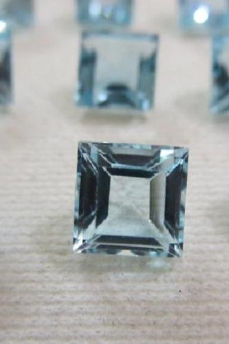 Natural Sky Blue Topaz 7mm 2 Pieces Faceted Cut Square Blue Color - Natural Loose Gemstone