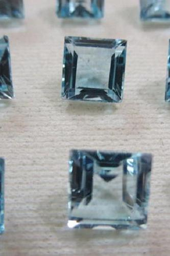 Natural Sky Blue Topaz 7mm 5 Pieces Lot Faceted Cut Square Blue Color - Natural Loose Gemstone