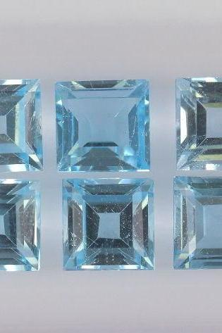 Natural Sky Blue Topaz 8mm 25 Pieces Lot Faceted Cut Square Blue Color - Natural Loose Gemstone