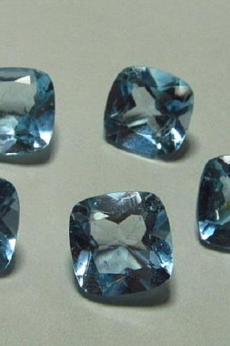 Natural Sky Blue Topaz 4mm 50 Pieces Lot Faceted Cut Cushion Blue Color - Natural Loose Gemstone