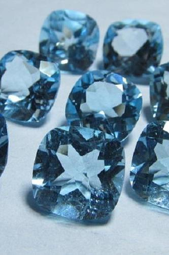 Natural Sky Blue Topaz 6mm 25 Pieces Lot Faceted Cut Cushion Blue Color - Natural Loose Gemstone