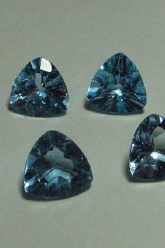 Natural Sky Blue Topaz 7mm 2 Pieces Faceted Cut Trillion Blue Color - Natural Loose Gemstone