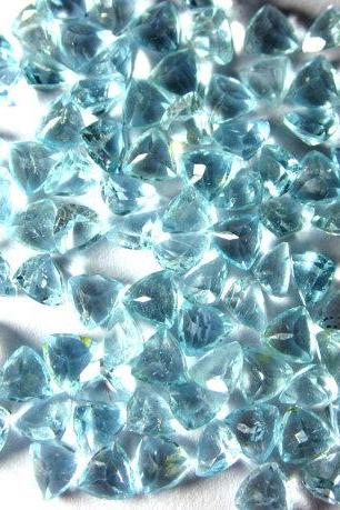 Natural Sky Blue Topaz 7mm 10 Pieces Lot Faceted Cut Trillion Blue Color - Natural Loose Gemstone