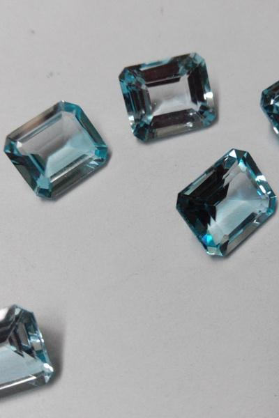 Natural Sky Blue Topaz 6x8mm 5 Pieces Lot Faceted Cut Octagon Blue Color - Natural Loose Gemstone