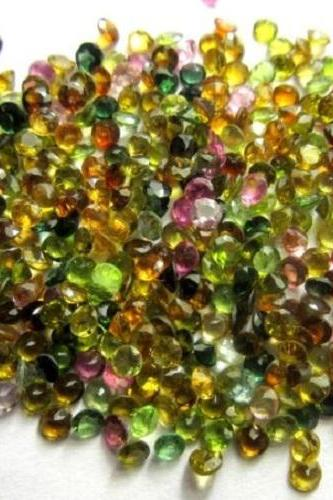 Natural Multi Tourmaline 3.5mm 25 Pieces Lot Faceted Cut Round Multi Color - Natural Loose Gemstone