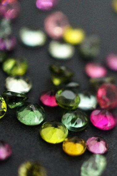 Natural Multi Tourmaline 4mm 50 Pieces Lot Faceted Cut Round Multi Color - Natural Loose Gemstone