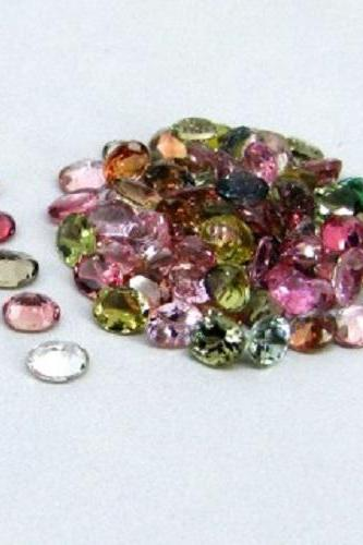 Natural Multi Tourmaline 4x3mm 10 Pieces Lot Faceted Cut Oval Multi Color - Natural Loose Gemstone