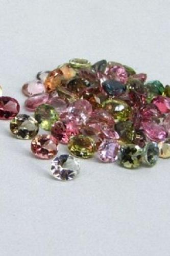 Natural Multi Tourmaline 4x3mm 100 Pieces Lot Faceted Cut Oval Multi Color - Natural Loose Gemstone