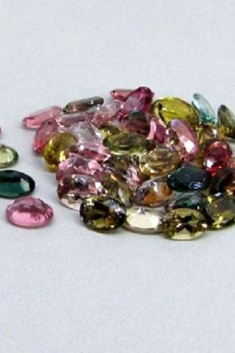 Natural Multi Tourmaline 5x3mm 10 Pieces Lot Faceted Cut Oval Multi Color - Natural Loose Gemstone