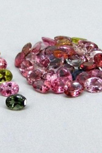Natural Multi Tourmaline 5x4mm 5 Pieces Lot Faceted Cut Oval Multi Color - Natural Loose Gemstone
