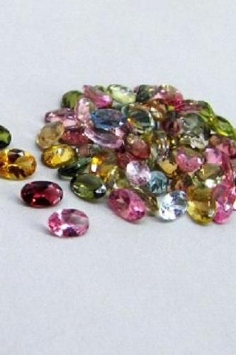 Natural Multi Tourmaline 5x4mm 100 Pieces Lot Faceted Cut Oval Multi Color - Natural Loose Gemstone