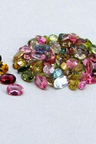 Natural Multi Tourmaline 6x4mm 5 Pieces Lot Faceted Cut Oval Multi Color - Natural Loose Gemstone