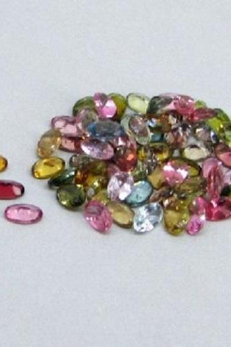 Natural Multi Tourmaline 6x4mm 50 Pieces Lot Faceted Cut Oval Multi Color - Natural Loose Gemstone