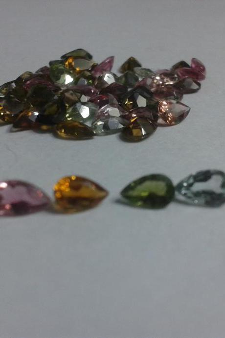 Natural Multi Tourmaline 3x4mm 5 Pieces Lot Faceted Cut Pear Multi Color - Natural Loose Gemstone