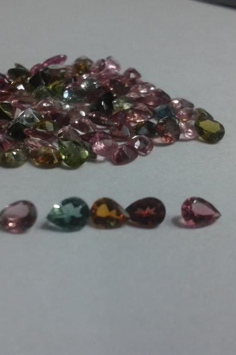 Natural Multi Tourmaline 3x4mm 10 Pieces Lot Faceted Cut Pear Multi Color - Natural Loose Gemstone