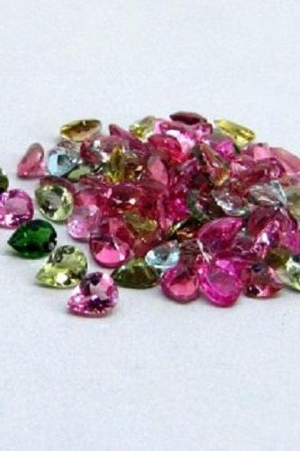 Natural Multi Tourmaline 5x3mm 10 Pieces Lot Faceted Cut Pear Multi Color - Natural Loose Gemstone