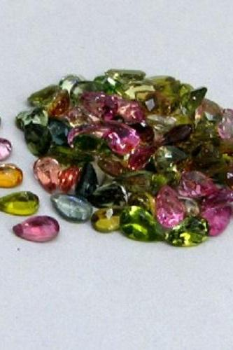Natural Multi Tourmaline 5x4mm 10 Pieces Lot Faceted Cut Pear Multi Color - Natural Loose Gemstone