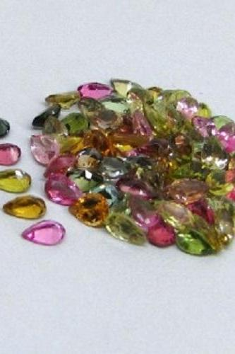 Natural Multi Tourmaline 6x4mm 25 Pieces Lot Faceted Cut Pear Multi Color - Natural Loose Gemstone