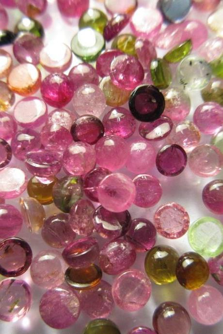 Natural Multi Tourmaline 5mm 25 Pieces Lot Cabochon Round Multi Color - Natural Loose Gemstone
