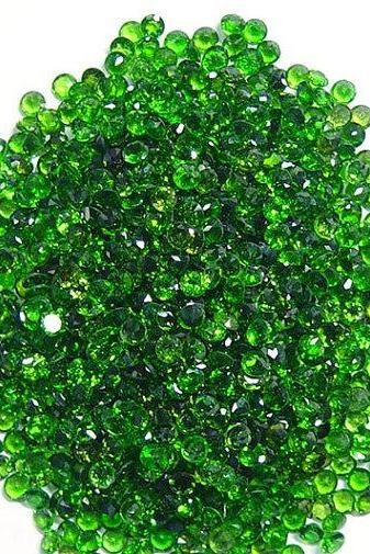 Natural Chrome Diopside 1.5mm 10 Pieces Lot Faceted Cut Round Green Color - Natural Loose Gemstone