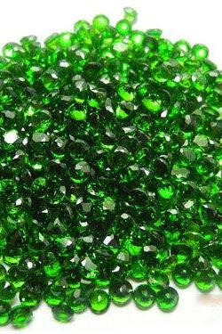 Natural Chrome Diopside 1.25mm 100 Pieces Lot Faceted Cut Round Green Color - Natural Loose Gemstone