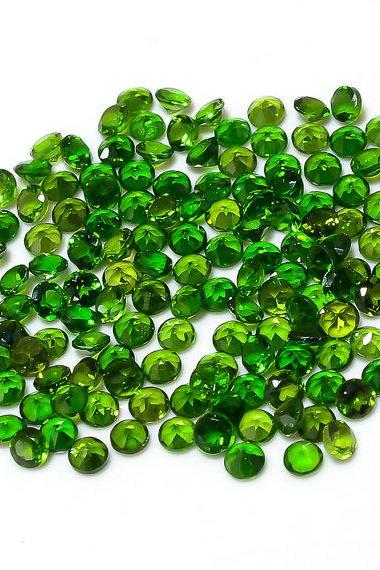 Natural Chrome Diopside 2mm 200 Pieces Lot Faceted Cut Round Green Color - Natural Loose Gemstone