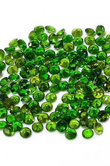 Natural Chrome Diopside 2.5mm 200 Pieces Lot Faceted Cut Round Green Color - Natural Loose Gemstone