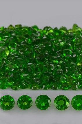 Natural Chrome Diopside 4mm 100 Pieces Lot Faceted Cut Round Green Color - Natural Loose Gemstone