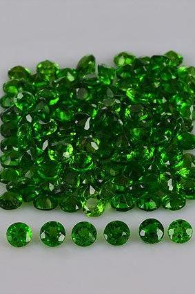 Natural Chrome Diopside 3mm 50 Pieces Lot Faceted Cut Round Green Color - Natural Loose Gemstone