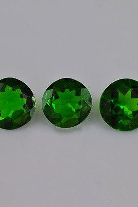 Natural Chrome Diopside 5mm 5 Pieces Lot Faceted Cut Round Green Color - Natural Loose Gemstone