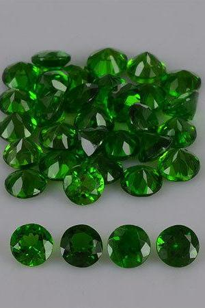 Natural Chrome Diopside 5mm 50 Pieces Lot Faceted Cut Round Green Color - Natural Loose Gemstone