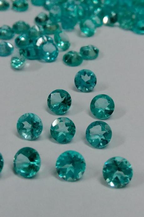 Natural Apatite 4mm 75 Pieces Lot Faceted Cut Round Greenish Blue Color - Natural Loose Gemstone