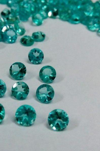 Natural Apatite 5mm 10 Pieces Lot Faceted Cut Round Greenish Blue Color - Natural Loose Gemstone