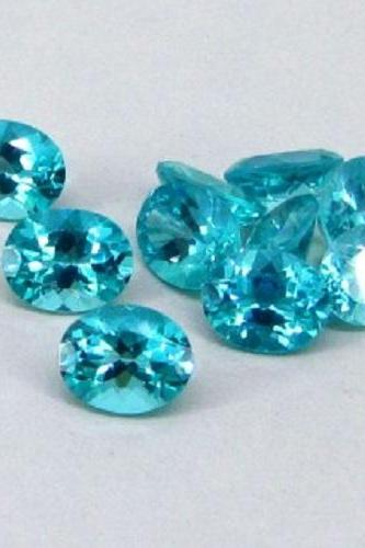 Natural Apatite 7x5mm 25 Pieces Lot Faceted Cut Oval Greenish Blue Color - Natural Loose Gemstone
