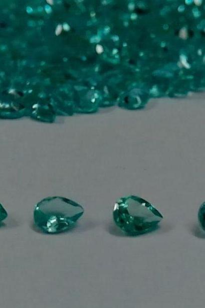 Natural Apatite 4x3mm 50 Pieces Lot Faceted Cut Pear Greenish Blue Color - Natural Loose Gemstone