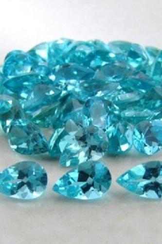 Natural Apatite 7x5mm 10 Pieces Lot Faceted Cut Pear Greenish Blue Color - Natural Loose Gemstone