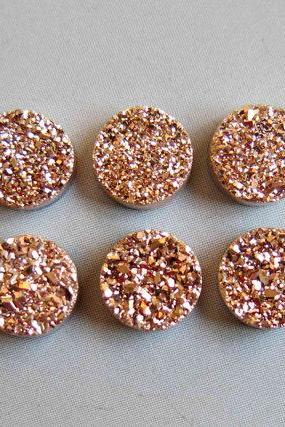 Natural 6mm,7mm, 8mm 25 Pieces Rose Gold Color Coating Flat Druzy Round Best Top Rose Gold Color Gemstone Lot