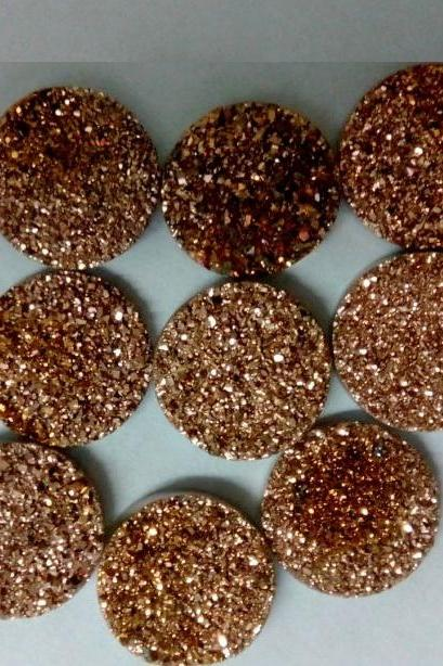 Natural 10mm 50 Pieces Rose Gold Color Coating Flat Druzy Round Best Top Rose Gold Color Gemstone Lot