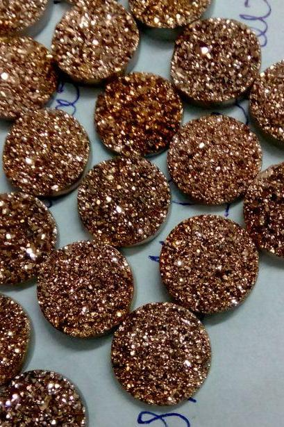 Natural 11mm,12mm 10 Pieces Rose Gold Color Coating Flat Druzy Round Best Top Rose Gold Color Gemstone Lot