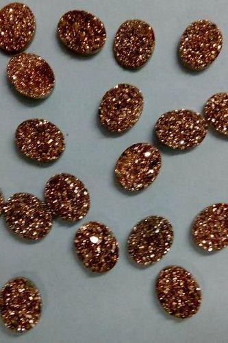 Natural 8x6mm,9x7mm,8x10mm 100 Pieces Rose Gold Color Coating Flat Druzy Oval Best Top Rose Gold Color Gemstone Lot