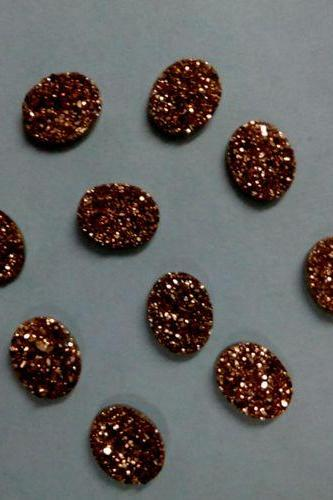 Natural 10x12mm 5 Pieces Rose Gold Color Coating Flat Druzy Oval Best Top Rose Gold Color Gemstone Lot