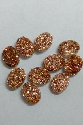 Natural 10x14mm 5 Pieces Rose Gold Color Coating Flat Druzy Oval Best Top Rose Gold Color Gemstone Lot