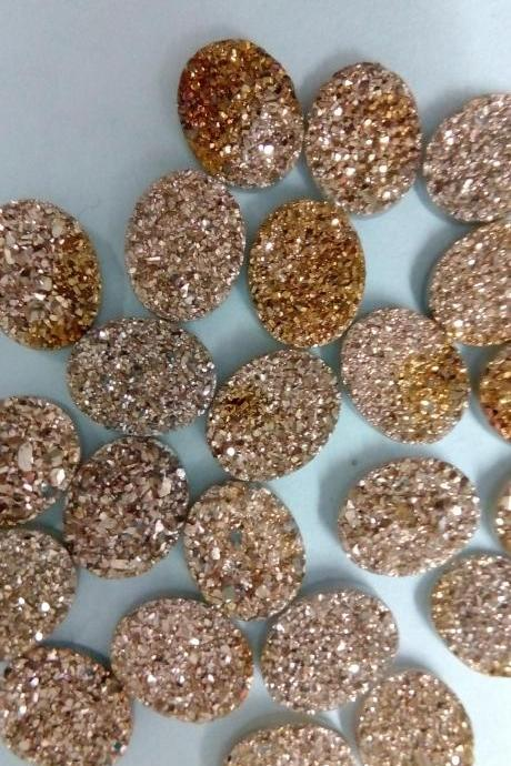Natural 10x14mm 50 Pieces Rose Gold Color Coating Flat Druzy Oval Best Top Rose Gold Color Gemstone Lot