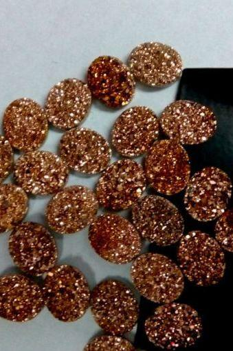 Natural 18x13mm 10 Pieces Rose Gold Color Coating Flat Druzy Oval Best Top Rose Gold Color Gemstone Lot