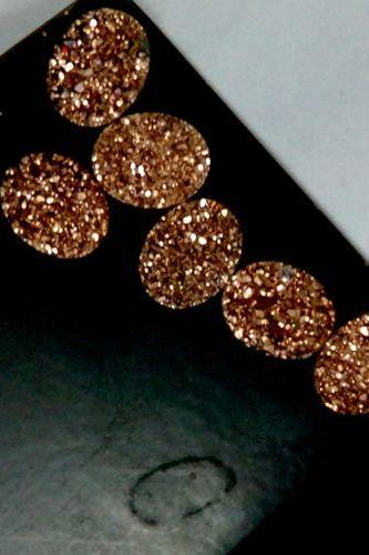 Natural 18x13mm 25 Pieces Rose Gold Color Coating Flat Druzy Oval Best Top Rose Gold Color Gemstone Lot